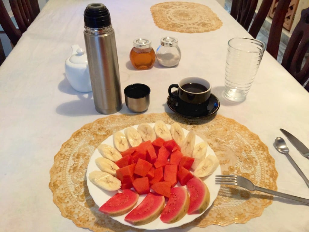 Breakfast! (Missing the mango smoothie, bread basket, and eggs)