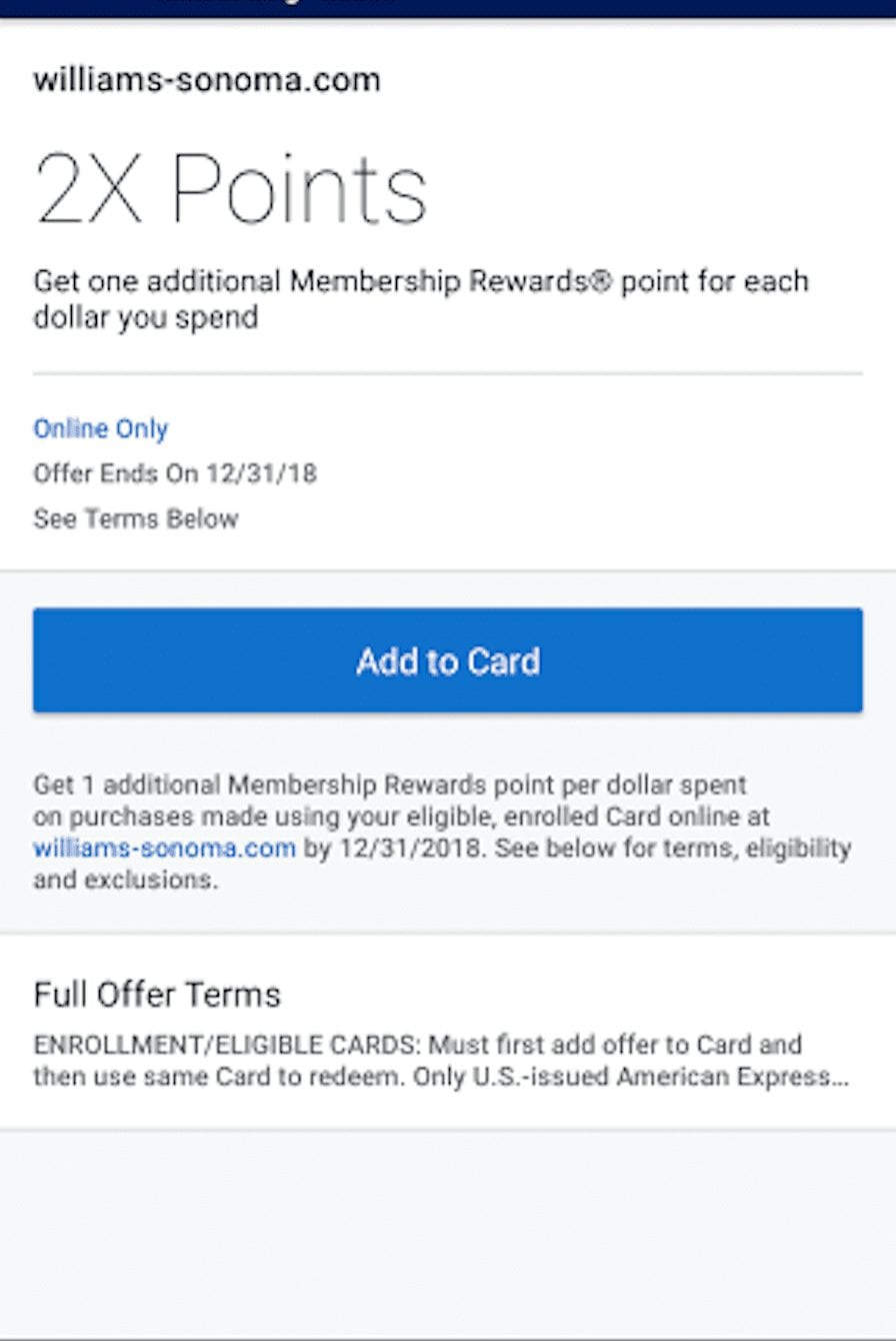 Adding Amex Offer from Mobile App