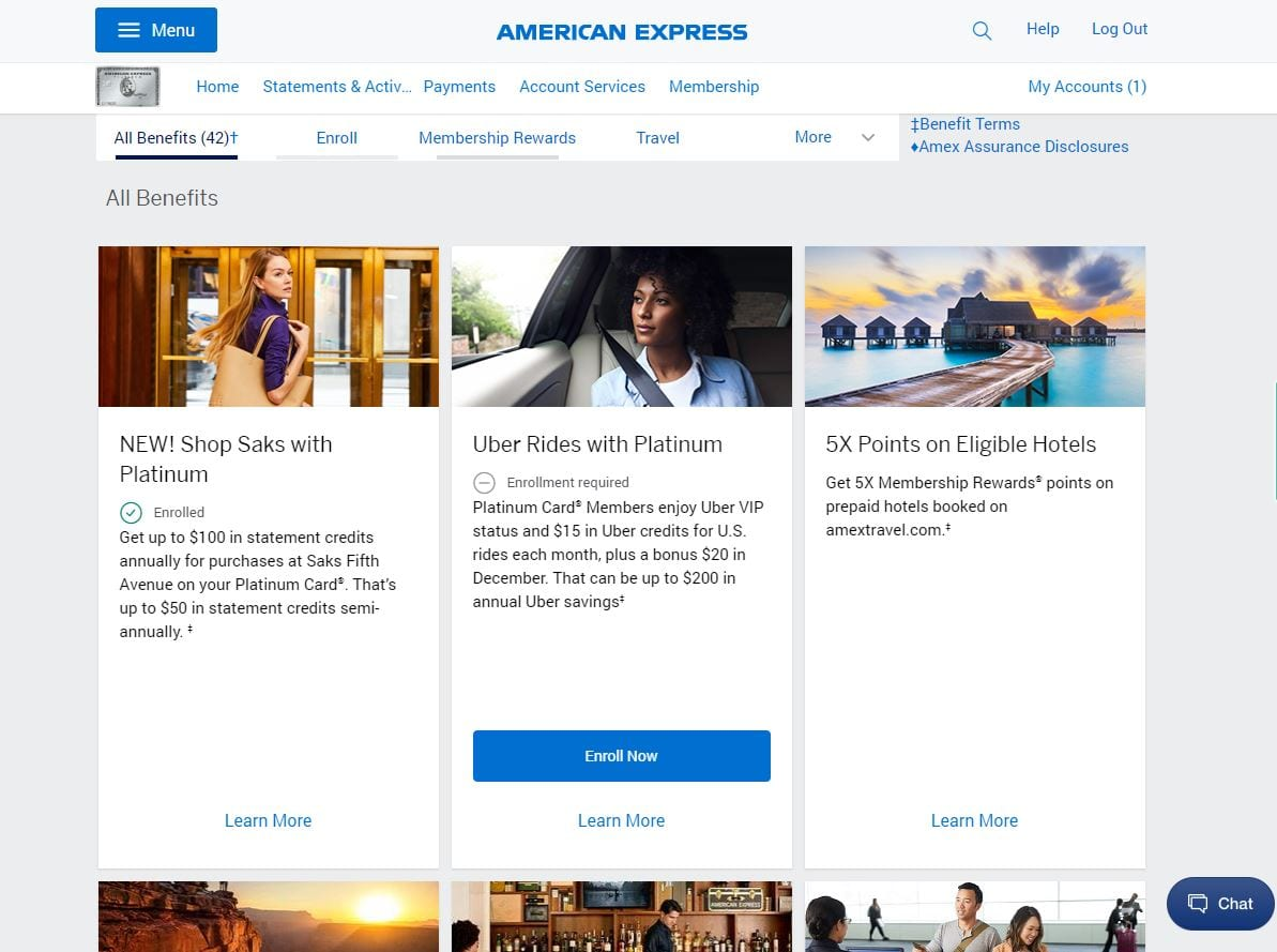 Amex Platinum annual fee benefits section