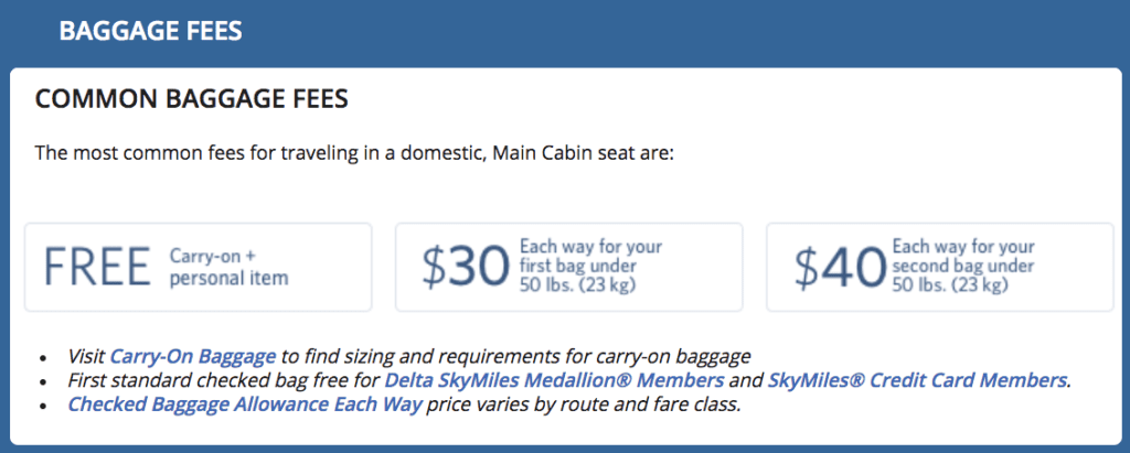 Delta fees checked baggage