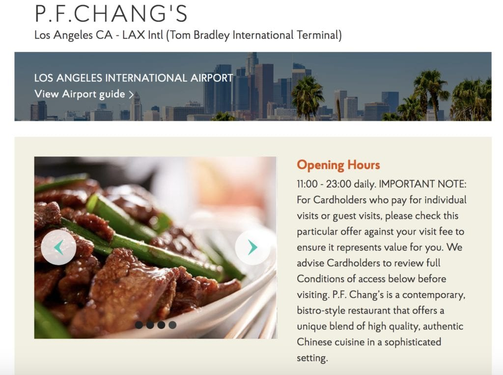 P.F. Chang's Priority Pass