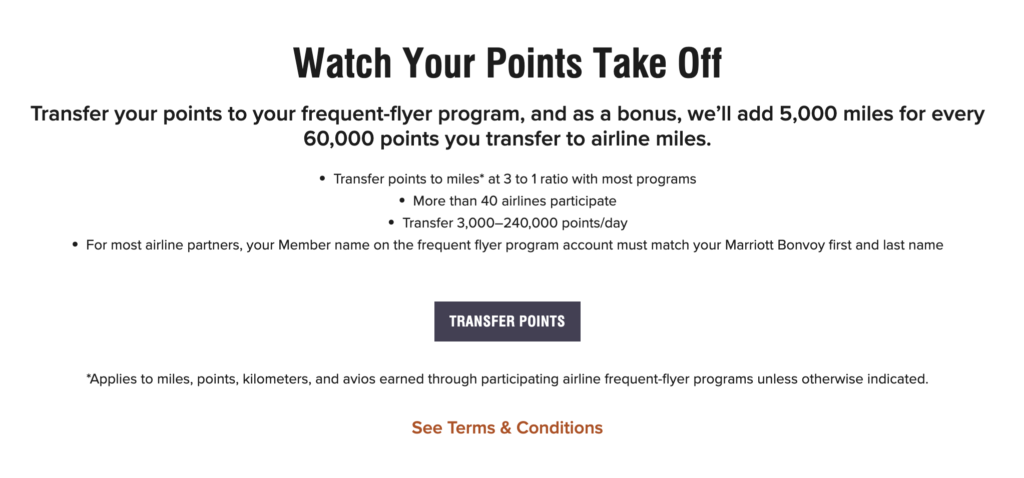 transfer marriott points to airlines