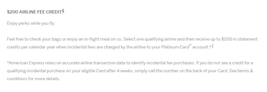 amex statement credits airline fees