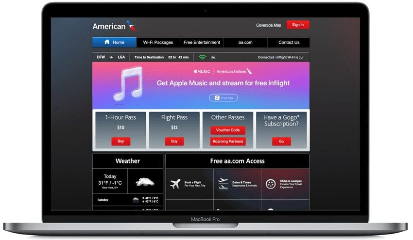 American Airlines Apple Music Streaming