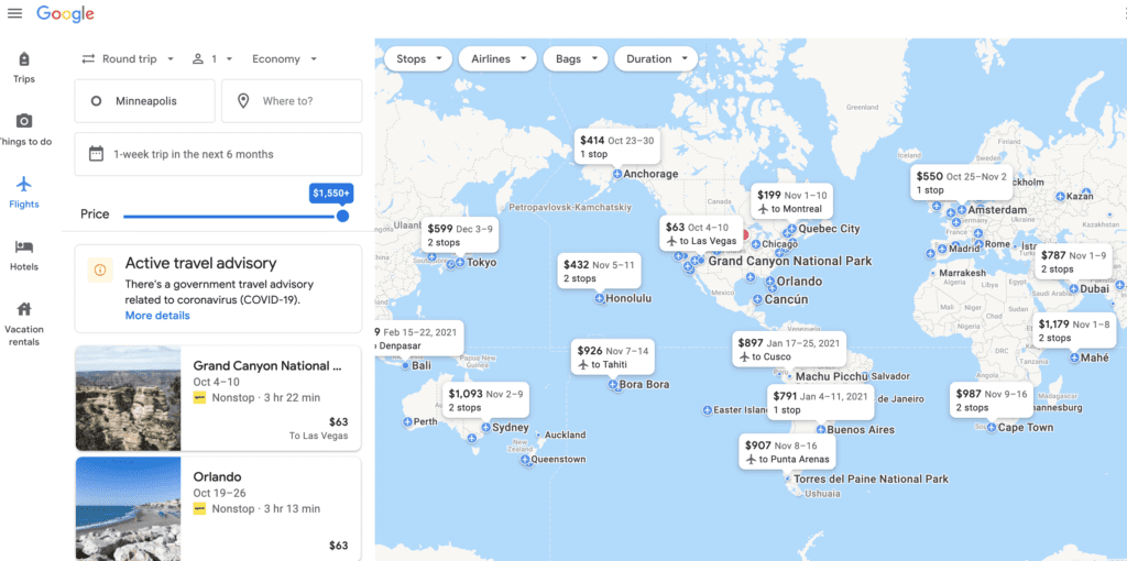google flights explore