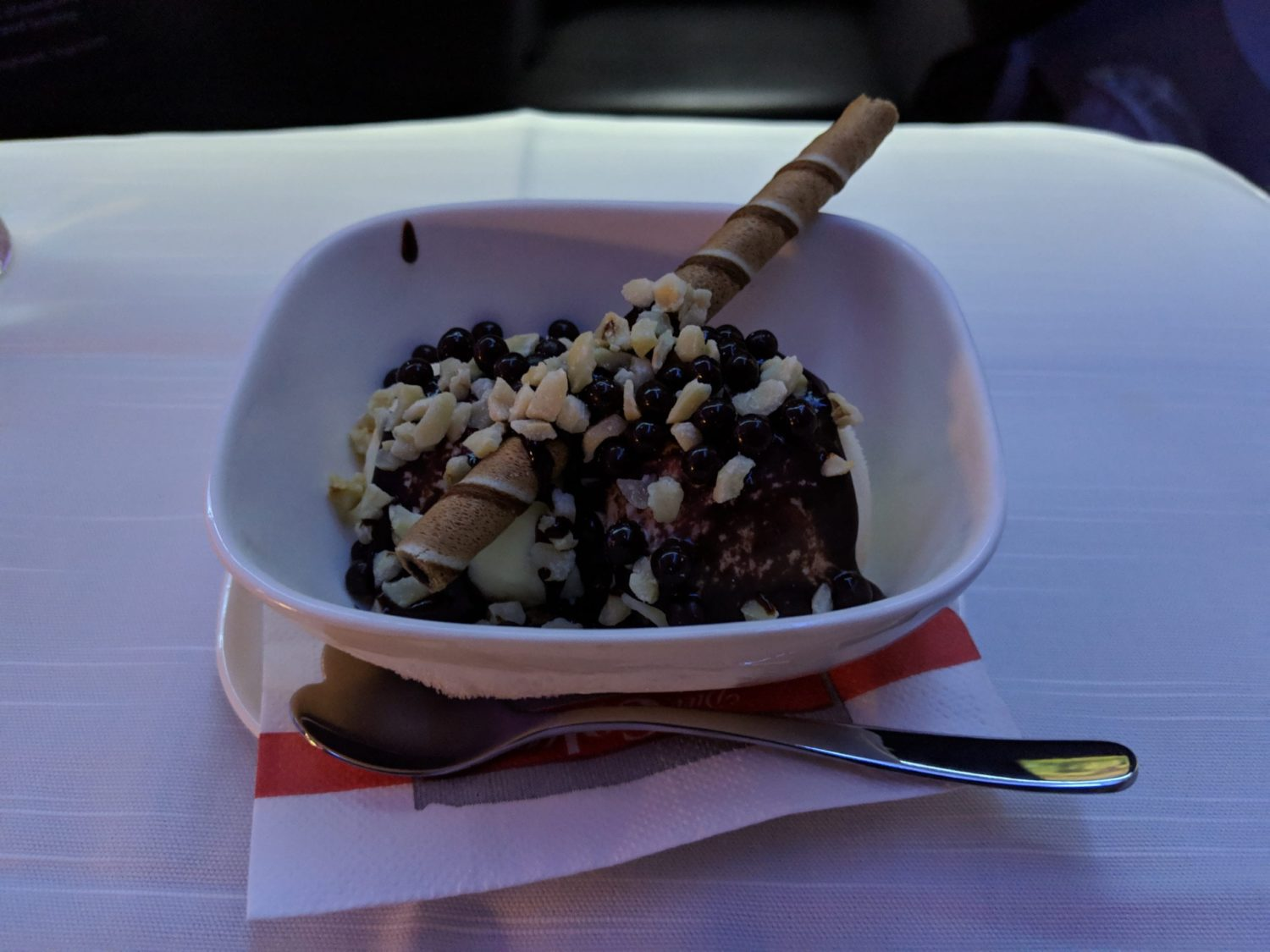 Delta One Suite ice cream