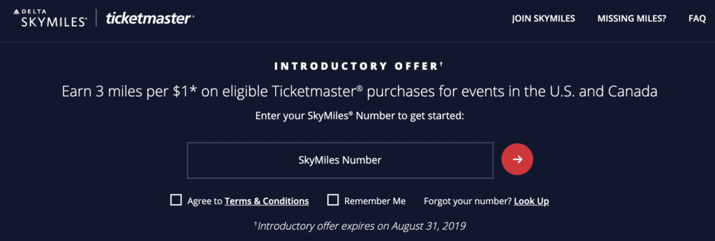 earn delta skymiles ticketmaster