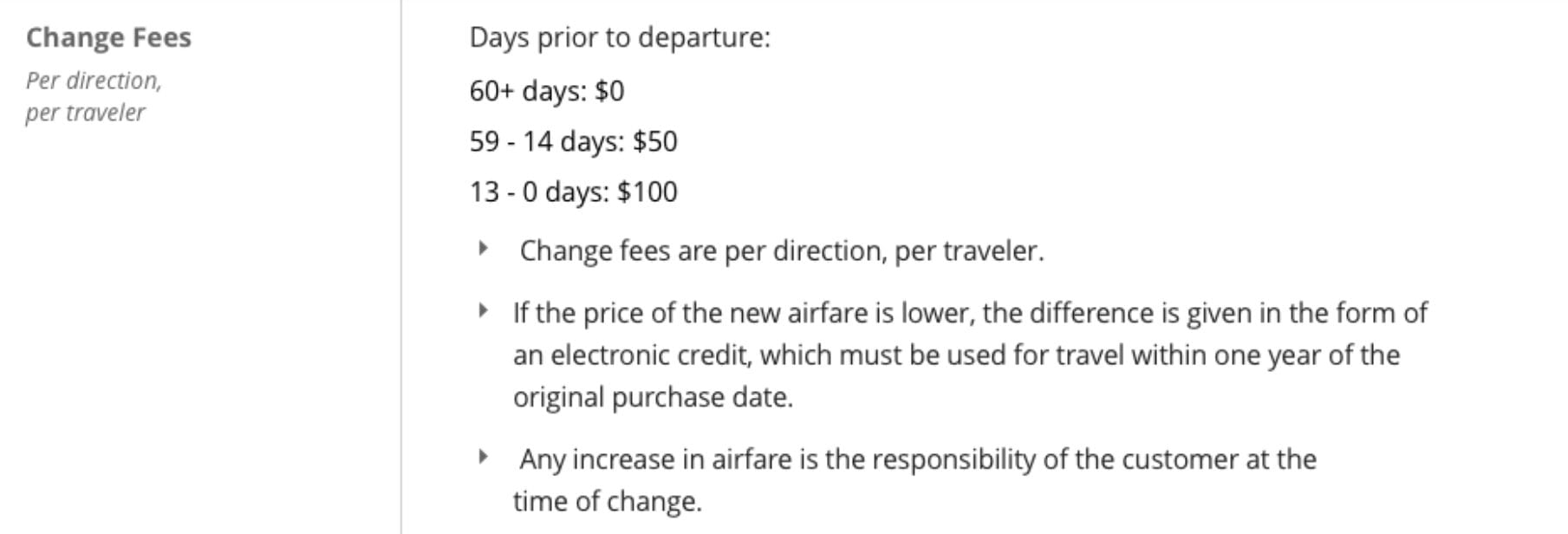 Sun Country Change Fees