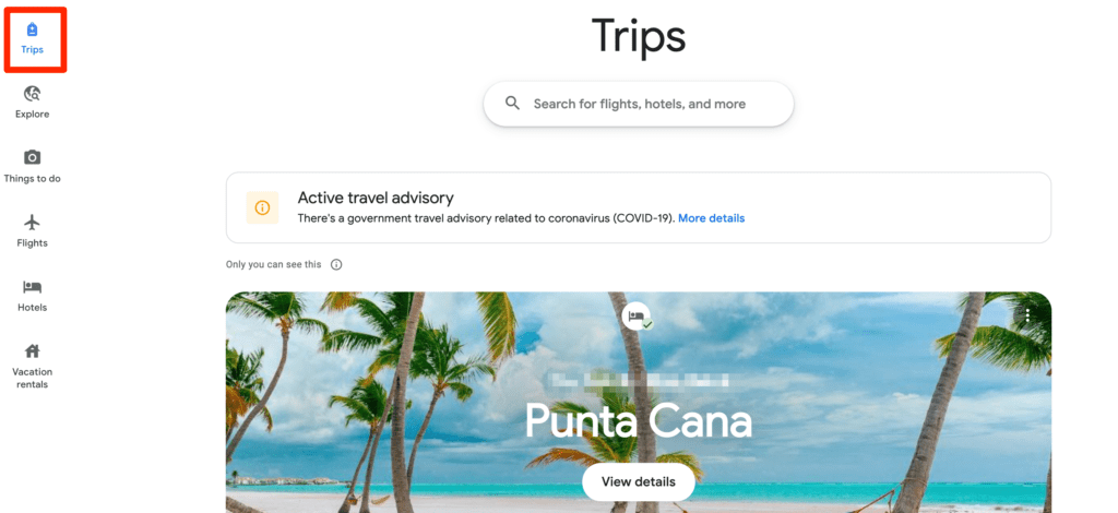 Google Trips information in Google Travel
