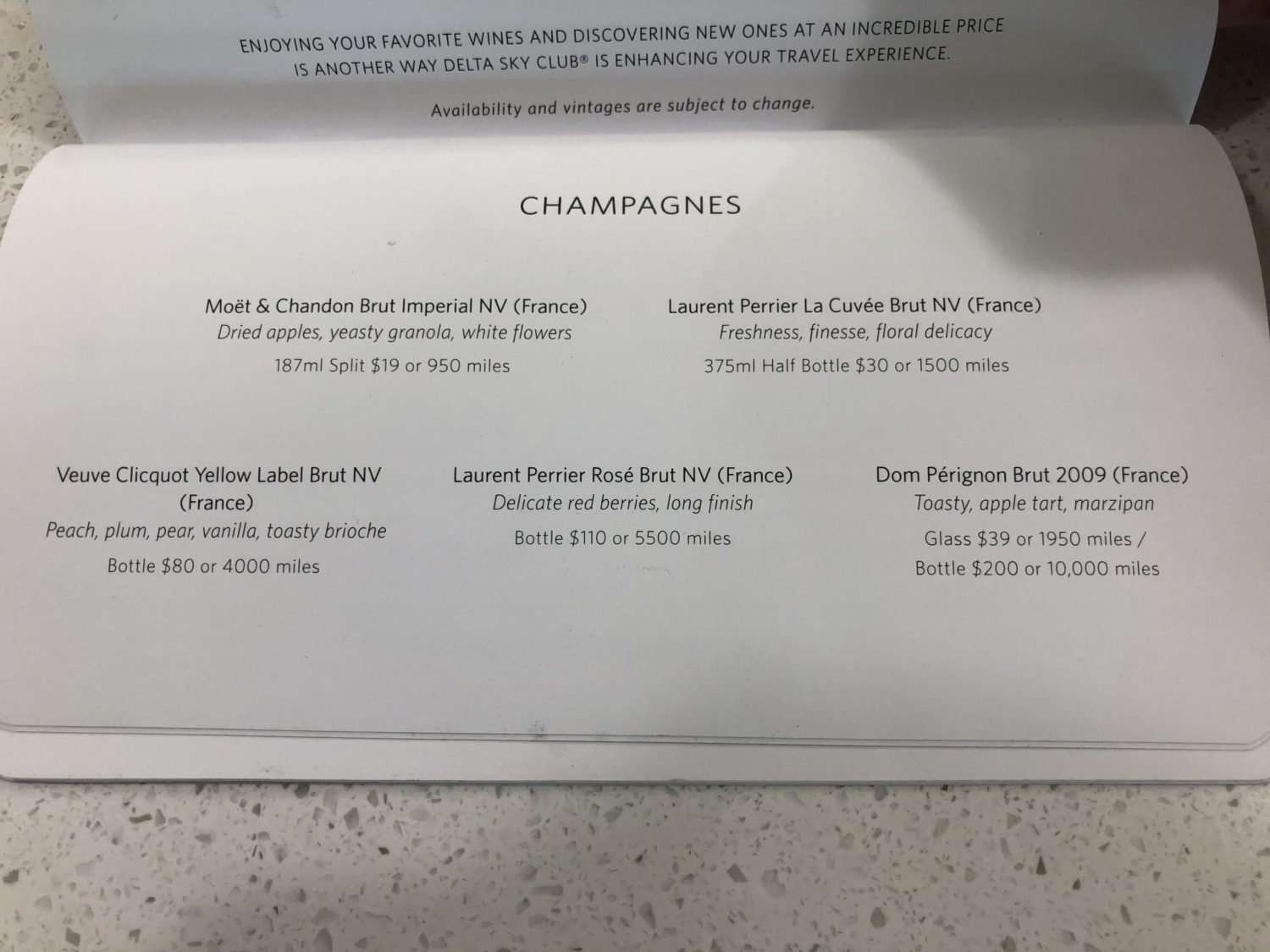 Delta Sky Club San Francisco Champagne Menu