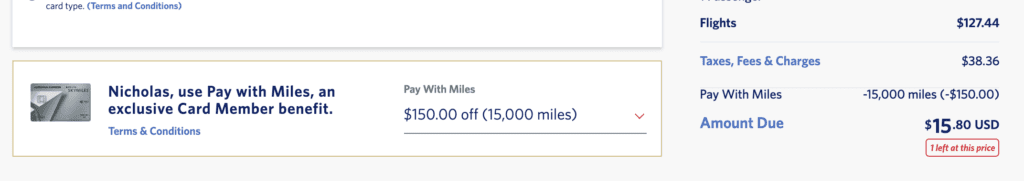 Delta Pay with Miles 15k