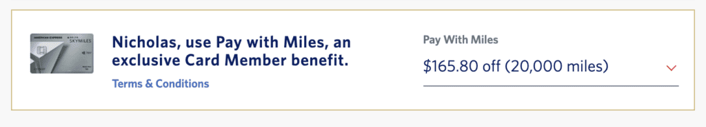 Delta Pay with Miles cost