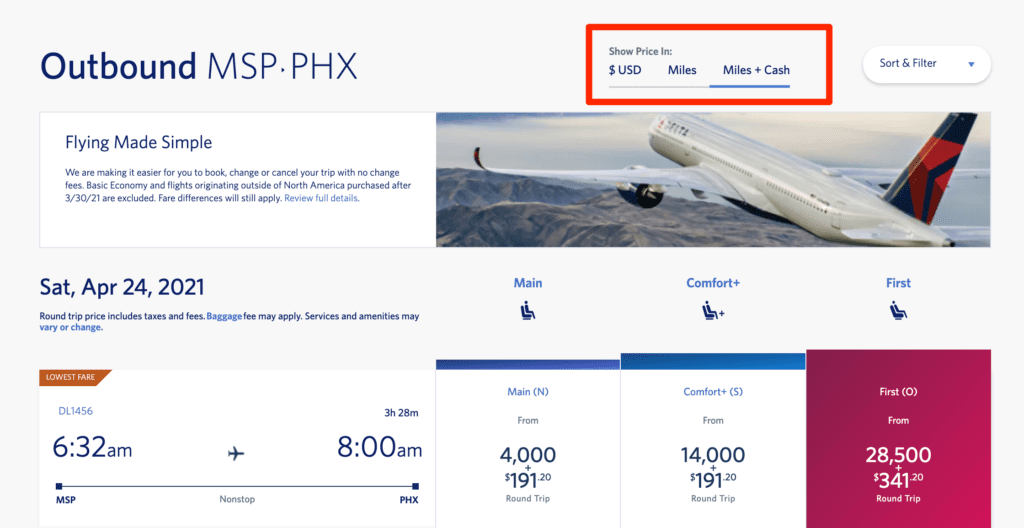 delta pay with miles