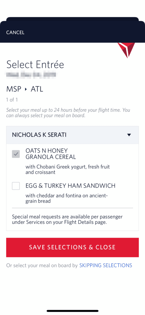 delta app meal selection