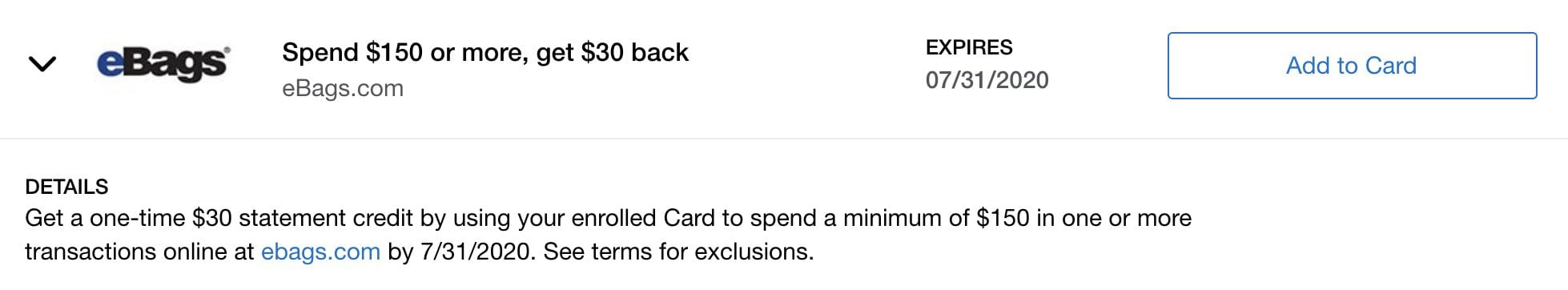 amex offer ebags