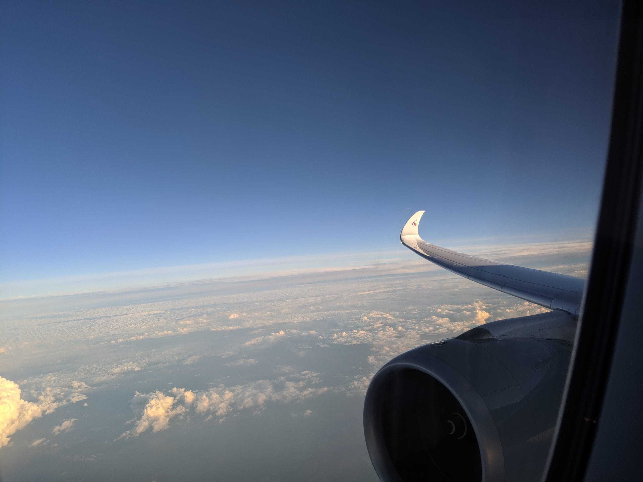 qatar airways wing view