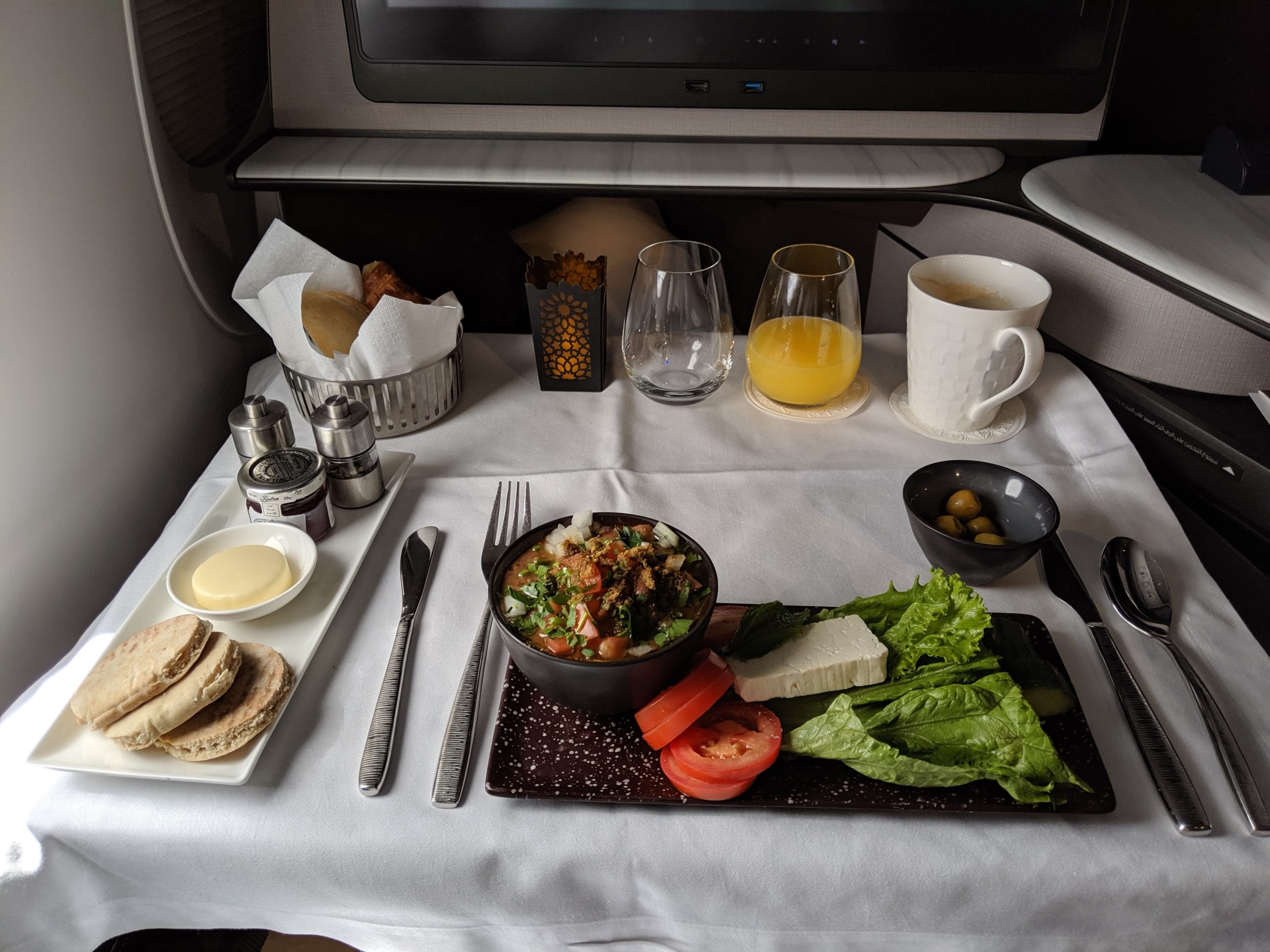 qatar airways qsuite breakfast