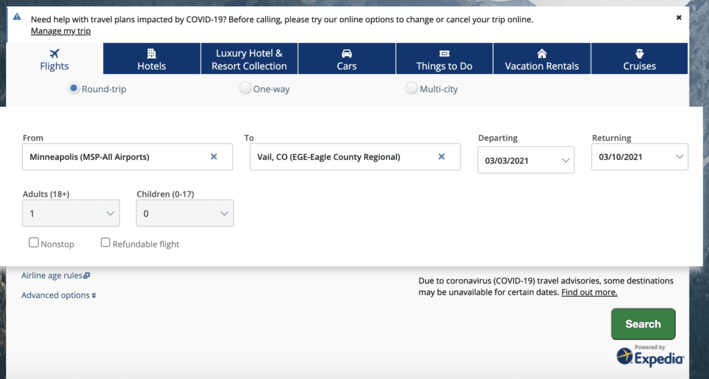 chase travel portal screenshot