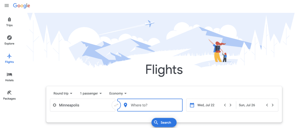 main menu on google flights