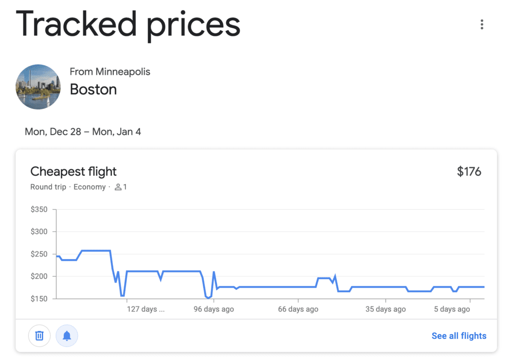 google flights tracked price