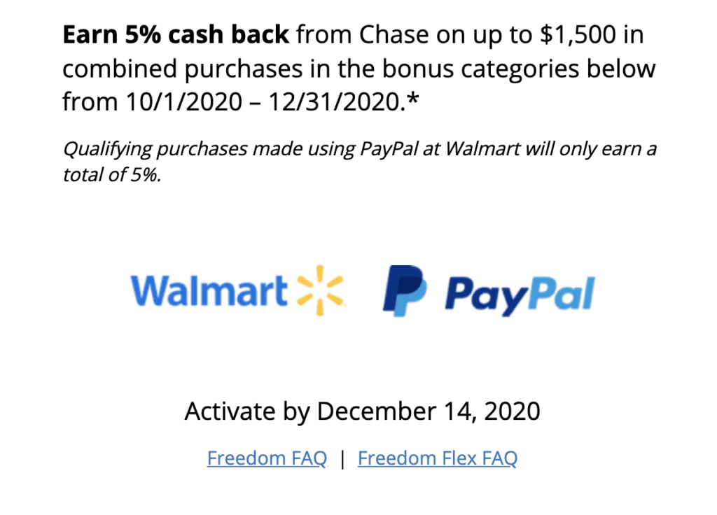 chase freedom categories