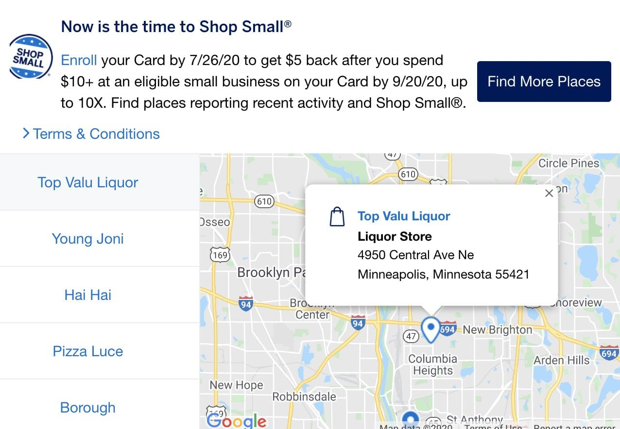 amex offer shop small