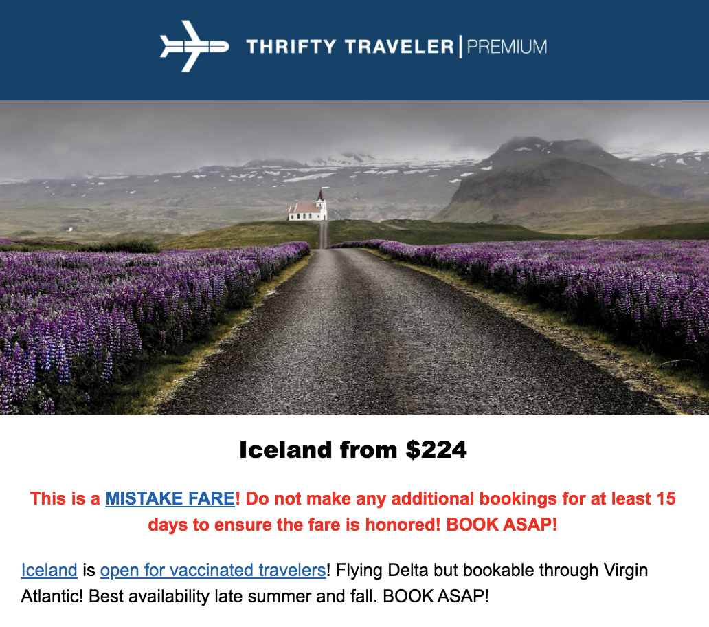 iceland flight deal where can Americans travel now