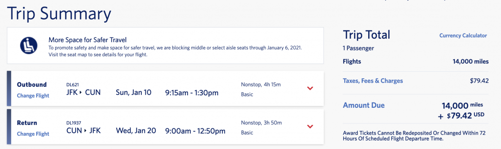 skymiles flash sale Mexico new york to cancun