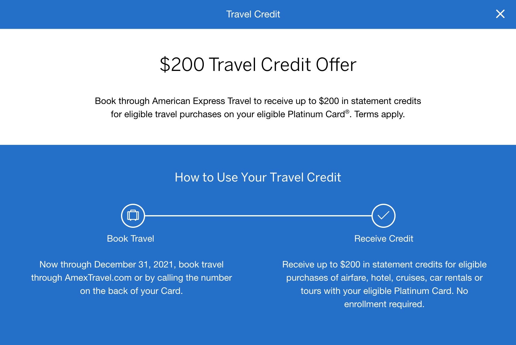 amex platinum $200 amex travel credit