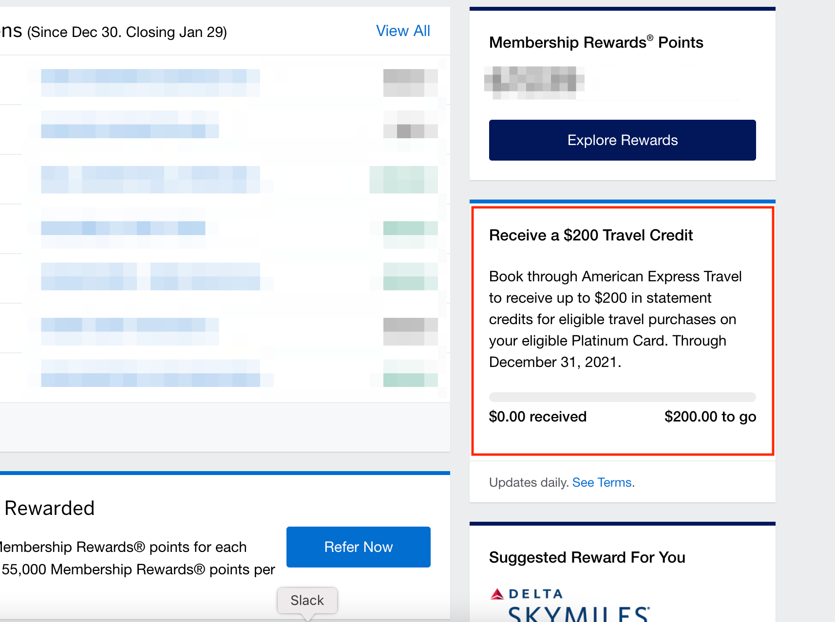 amex platinum travel credit