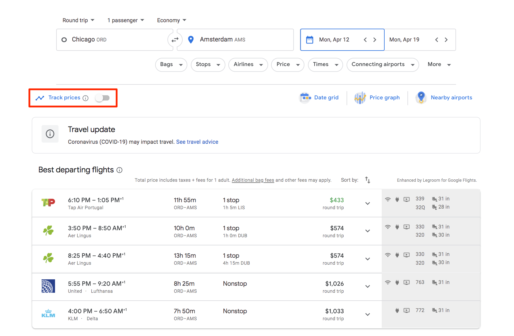 google flights price tracking