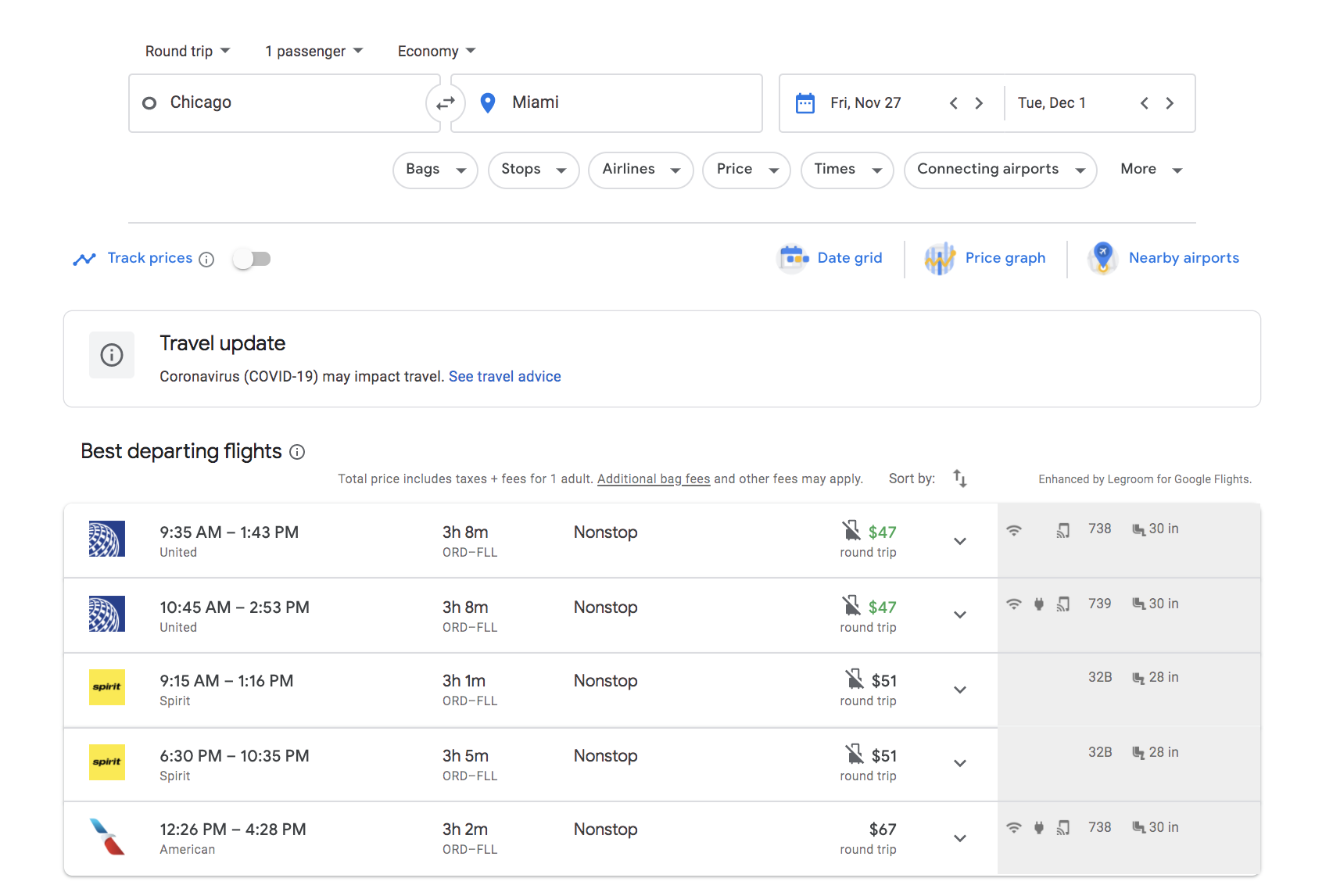 google flights search results