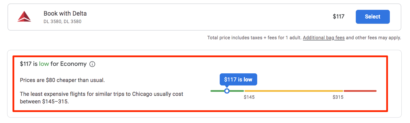 good deal indicator on google flights