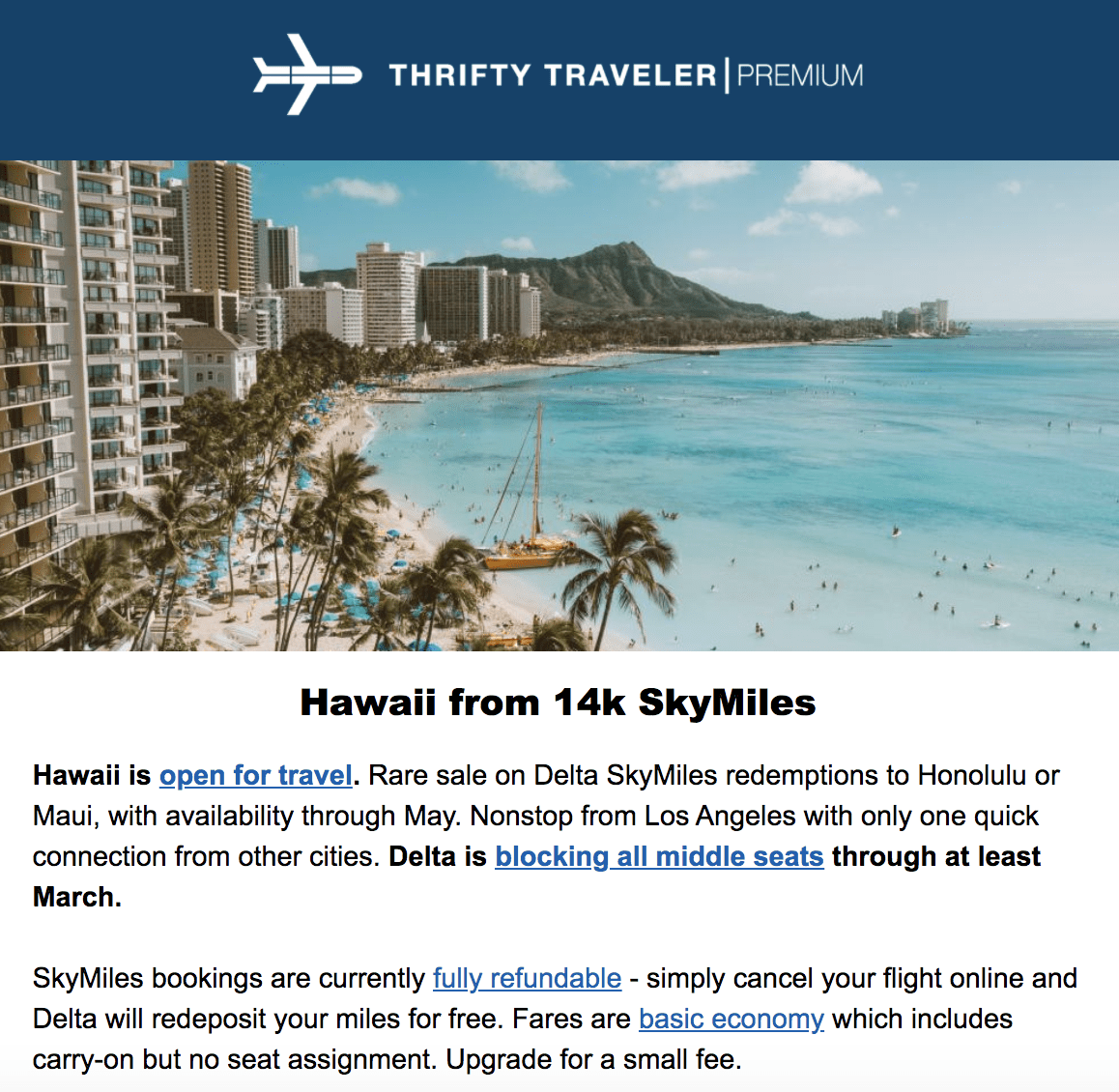 thrifty traveler premium deal to hawaii