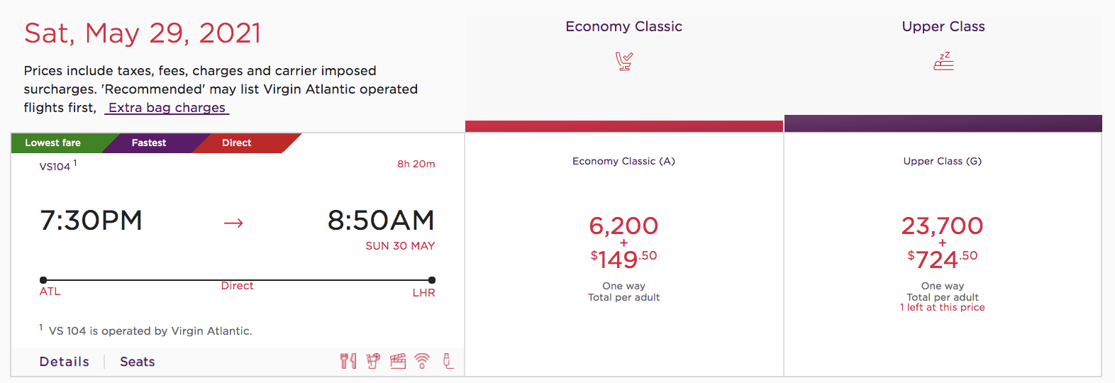 virgin Atlantic award flight