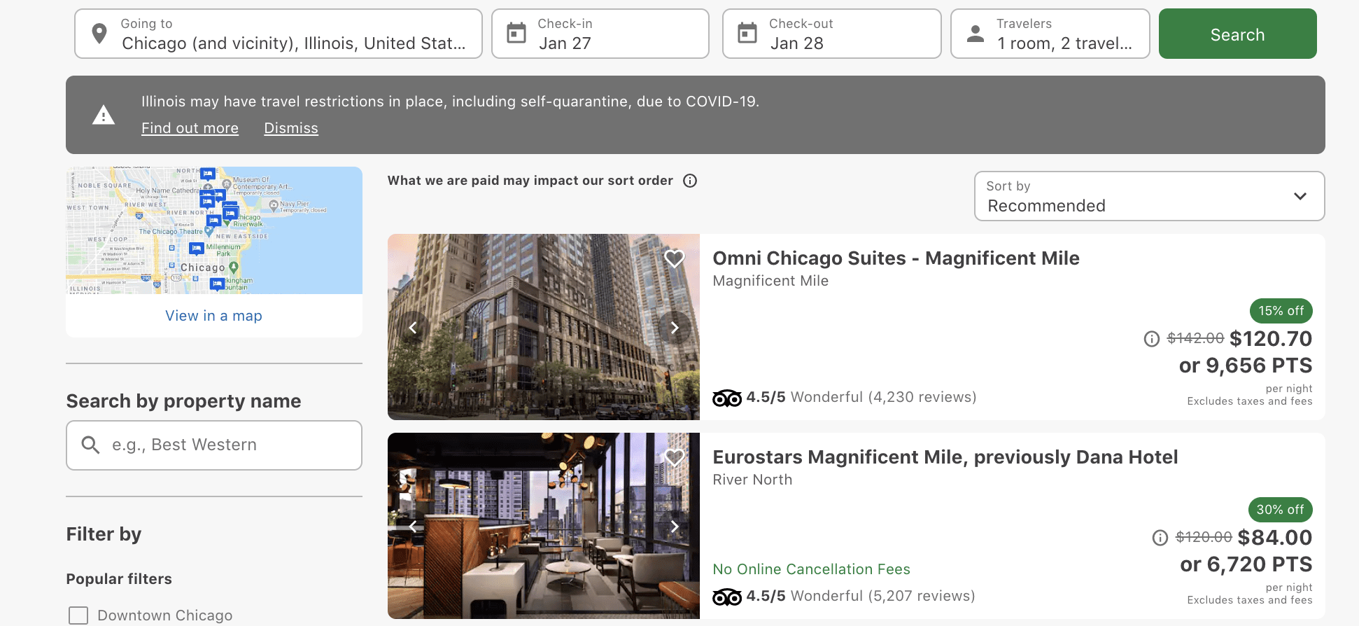 Use Chase points to book hotels travel portal