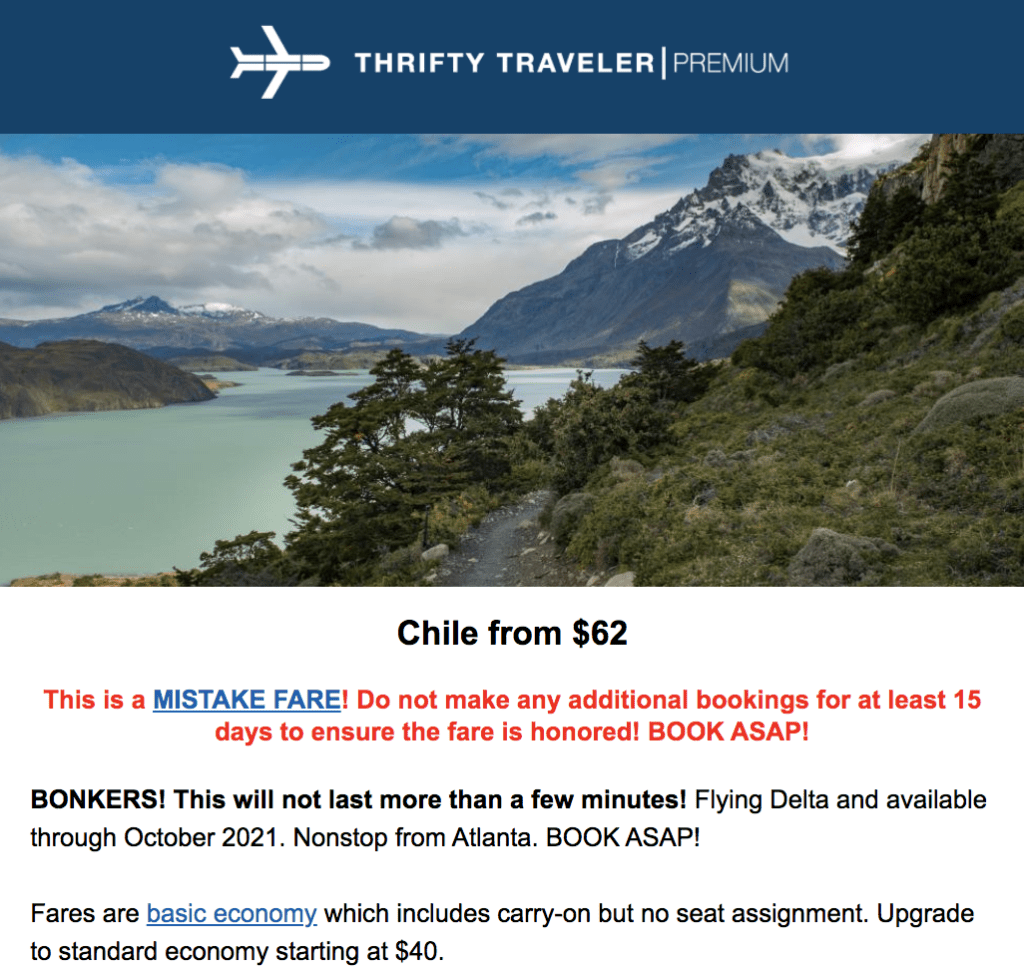 mistake fare to chile 2021 flight deals