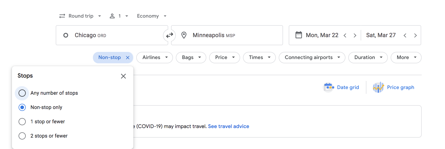 google flights stops filter