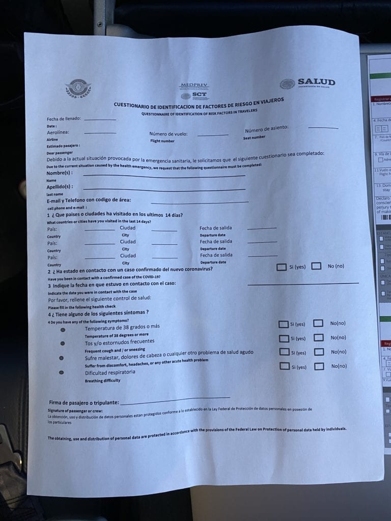 travel to mexico healthcare form