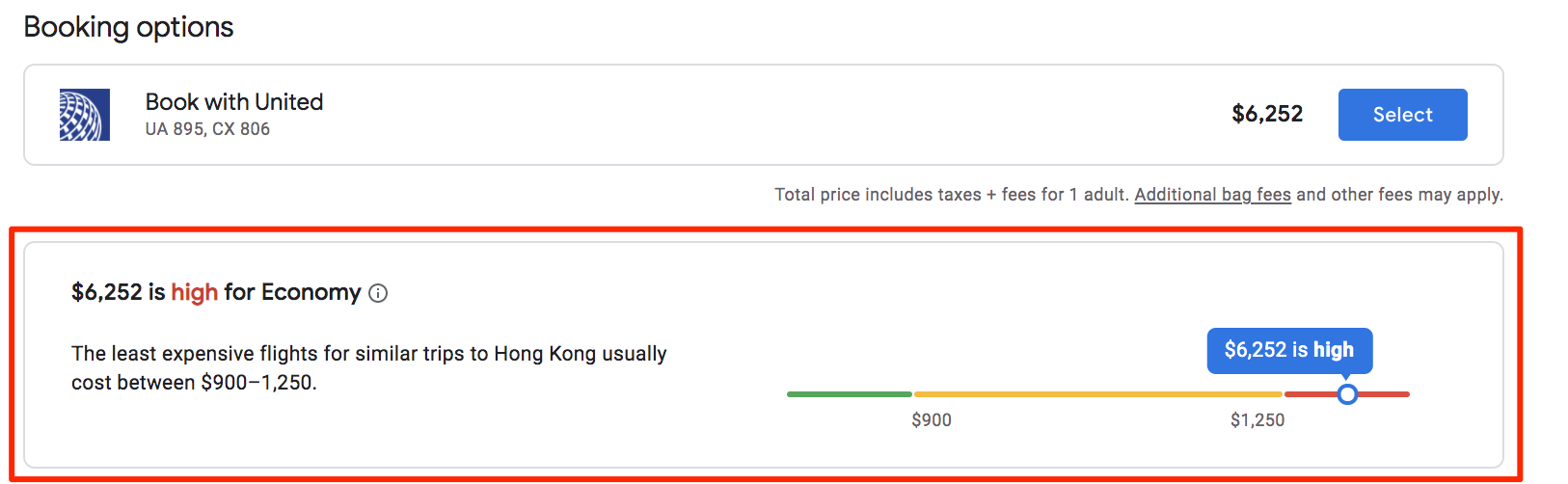 google flights high price warning