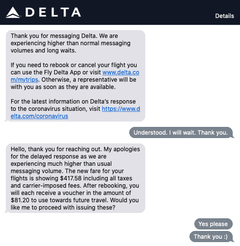 Delta voucher refund