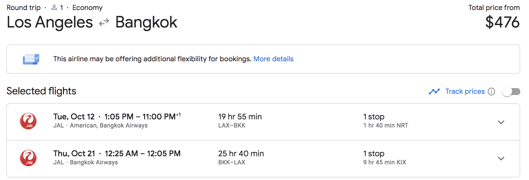 lax to bangkok flights