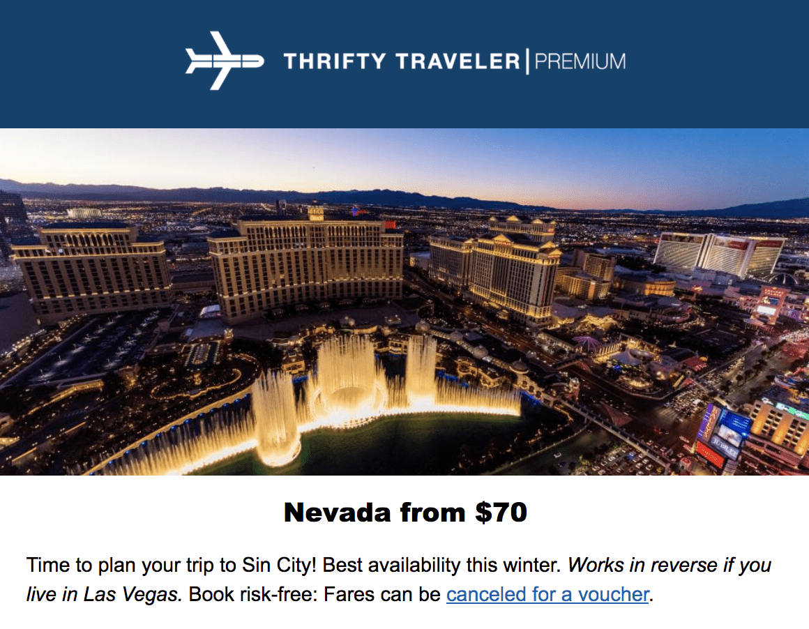 thrifty traveler premium deal vegas