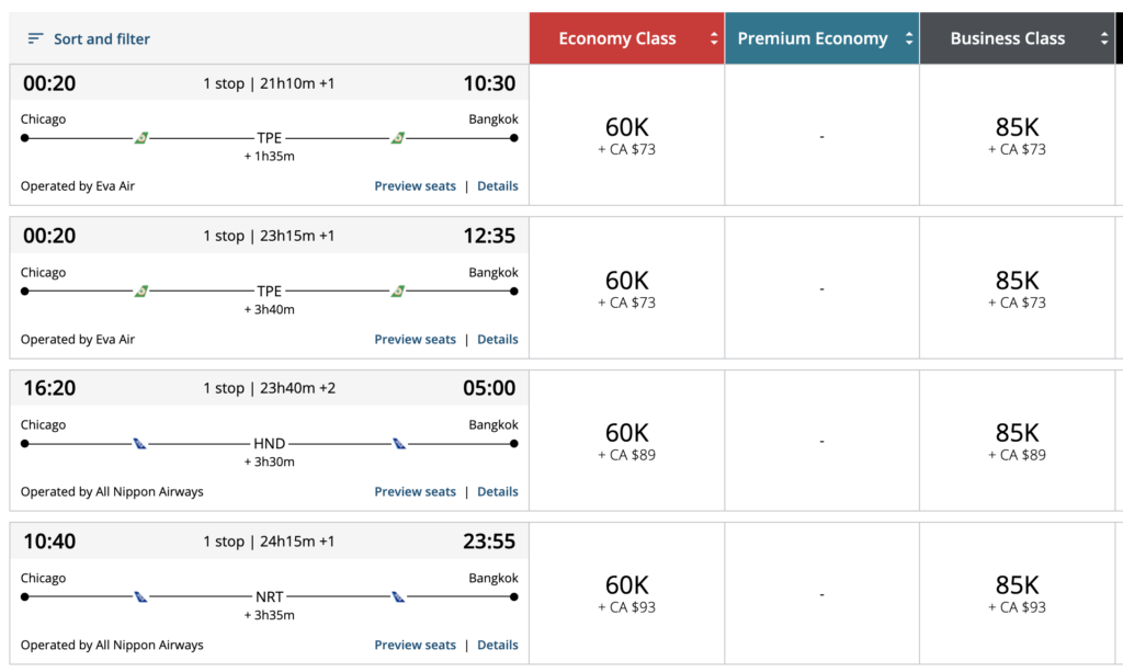 aeroplan thailand using points and miles