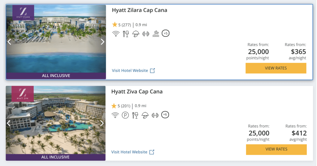 hyatt ziva and zilara cap cana room rates