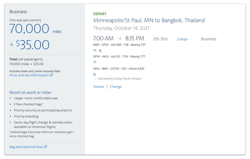 thailand using points and miles