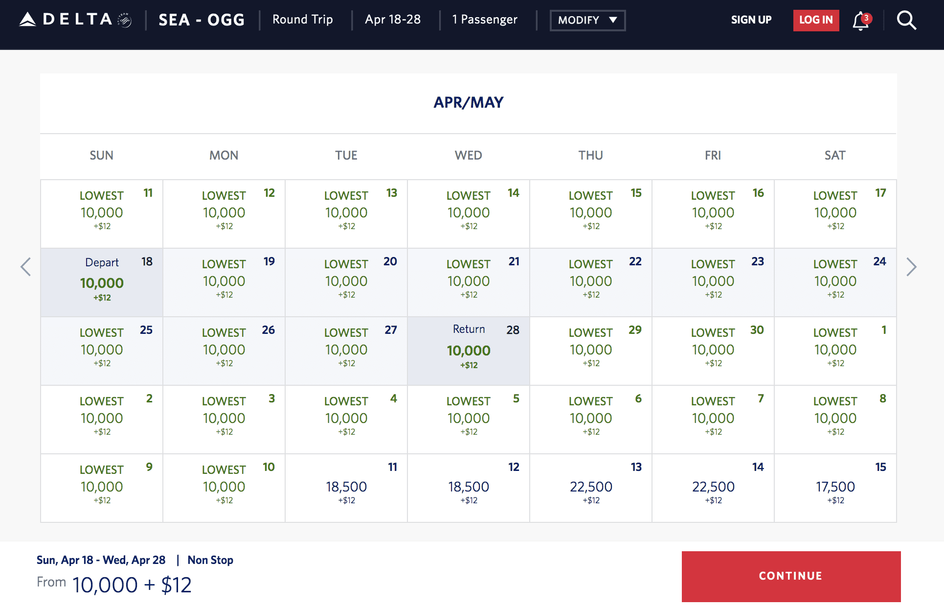 delta skymiles seattle to hawaii
