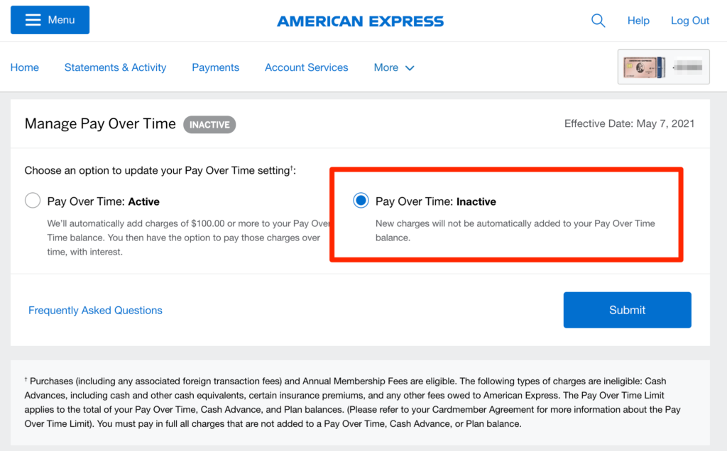 amex pay over time