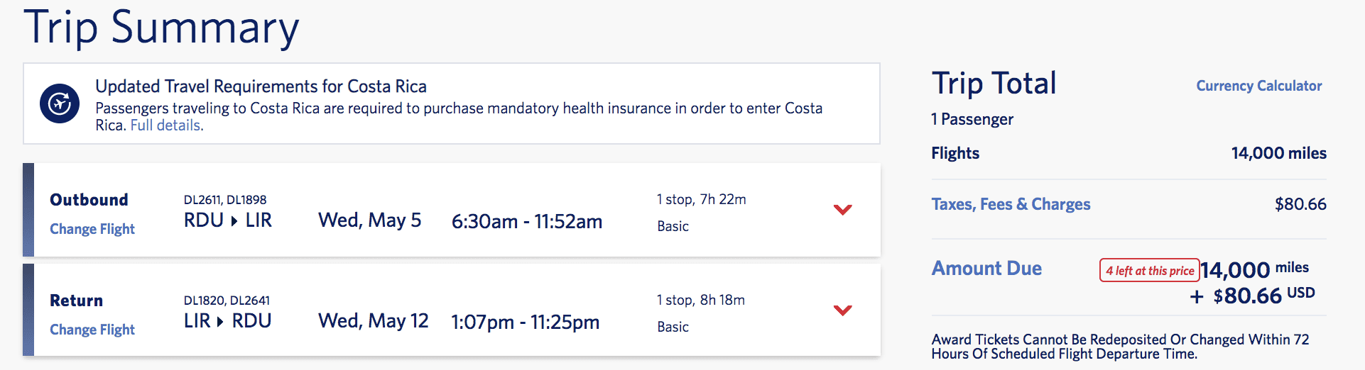 skymiles flash sale to costa rica